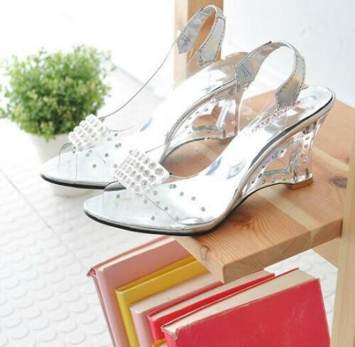 Women Transparent Wedge Heels Shoes Sandal Shoes Open Toe Fashion Dating Crystal