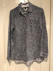 Tommy-Hilfiger-Tunic-Top-Size-S-Blue-White-Paisley-Cotton-Beachy-Light