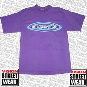 VISION-STREET-WEAR-Ovalado-Logo-Custom-Camiseta-Morado-De-los-anos-80-Skate