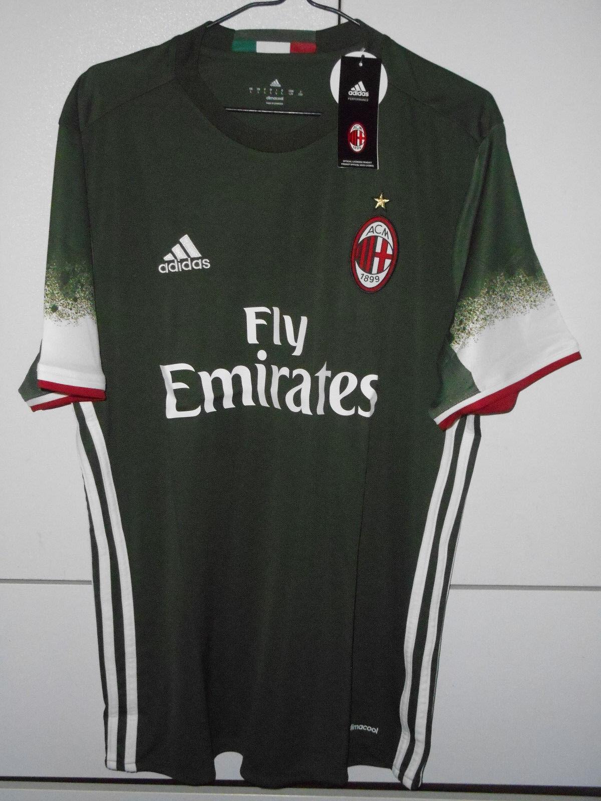 Auténtico De Fútbol Adidas Ac Milan 2016-17 ventiladores Camisa Jersey 3rd lejos S M L 2XL