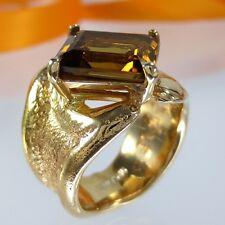 A704 Goldschmiede Schmuck Rauchquarz Ring 925 Silber Gold vergoldet Gr.58 Handar