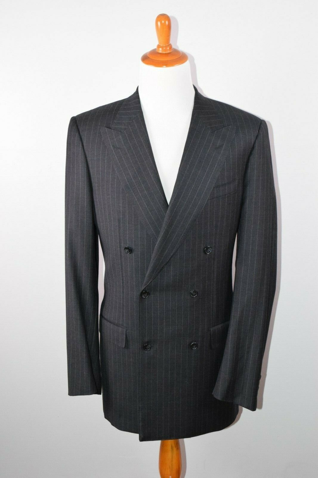 Ravazzolo Peak Lapel Double Breasted Charcoal Pinstripe Suit 44L W33x35 Luxe