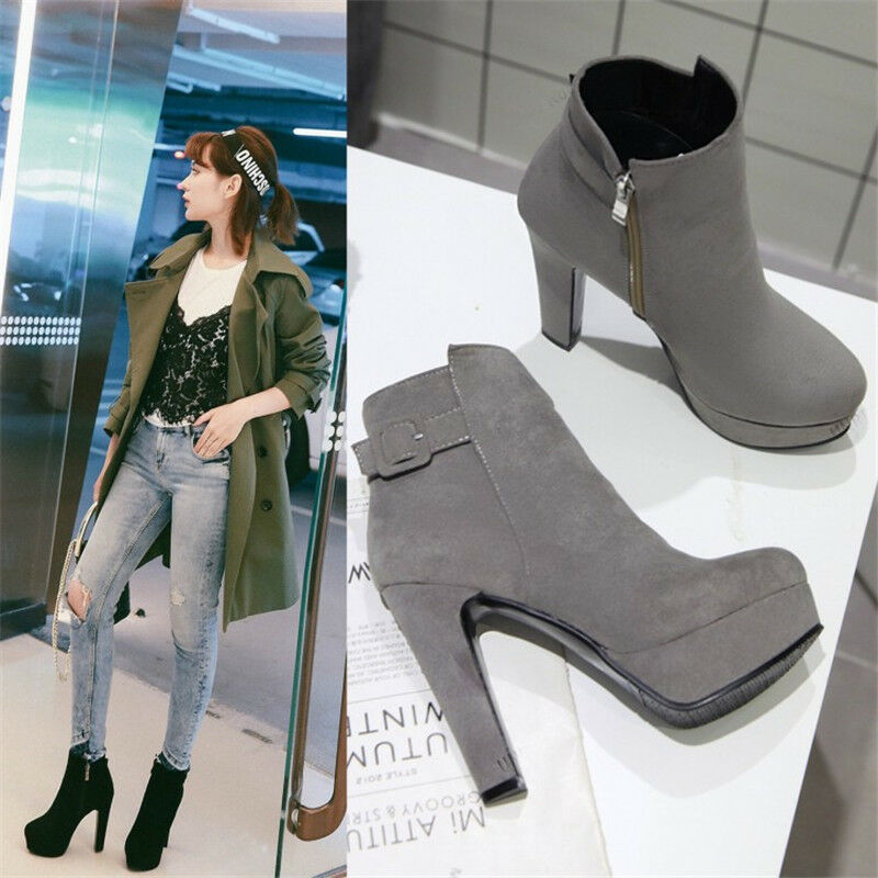 Womens Ladies Platform Zip Chunky Heel Faux Suede Casual Ankle Boots shoes B997