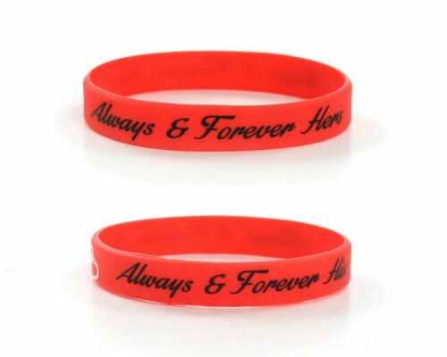 Always And Forever His Hers Red Love Wedding Silicone Wristbands Wholesale