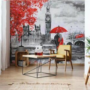 Tapete Fototapete Papier London Rot Schwarz Weiß