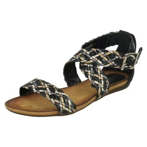 Ladies Spot On With Flat Braided Sandals With On 'Buckle Strap' 8e8ab7