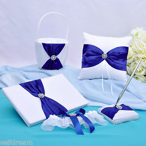 GB26A-White-Royal-Blue-Bow-Rhinestone-Satin-Wedding-Ceremony-Collection-5-PCS