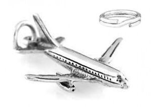 STERLING-SILVER-PASSENGER-AIRPLANE-CHARM-WITH-ONE-SPLIT-RING