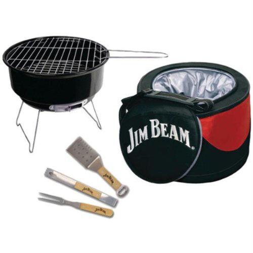 JB0105 Jim Beam 5-Piece Mini Cooler /& Grill Combo Set w// BBQ Tools