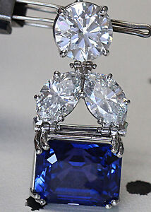 20 carat natural color change blue sapphire and diamond pendant image is loading 20 carat natural color change blue sapphire and aloadofball Gallery