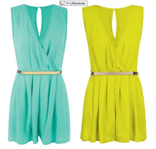 Womens Wrap over Chiffon Mini Playsuit Ladies Belted VNeck Short Dress Jumpsuit