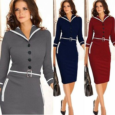 Womens Lapel Button Business Wear to Work Slim Belted Tunic Pencil Bodycon Dress