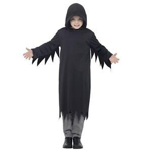 RAGAZZI-E-BAMBINI-SCURO-Mietitore-Costume-con-cappuccio-halloween-GRIMM