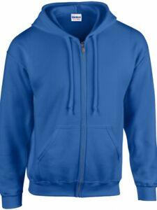 Zipped-Hoodie-Gildan-Heavy-Blend-Royal-Blue-Blank-various-sizes-Bargain-Price