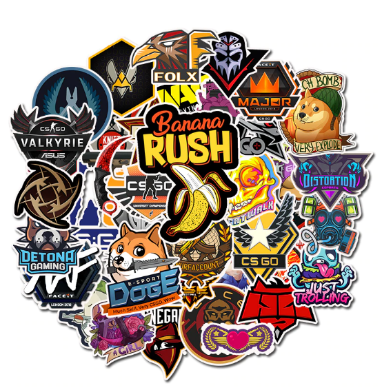50 PCS Lot CS GO FPS Gaming Stickers For Boys Laptop Funny Graffiti Luggage Toys