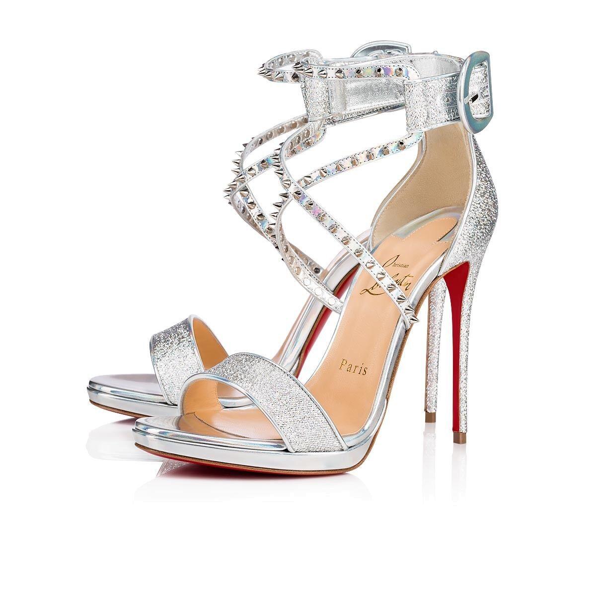 Christian Louboutin Choca Lux 120 Silver Criss Cross Strap Sandal Heel Pump 37.5