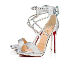 5be8bf48aba9 Image is loading Christian-Louboutin-Choca-Lux-120-Silver-Criss-Cross-