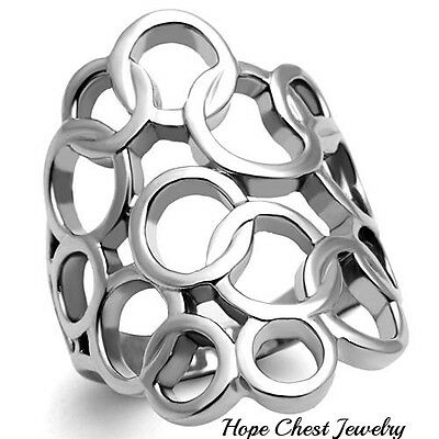 WOMEN'S SILVER STAINLESS STEEL CIRCLE DESIGN WIDE BAND FASHION RING SIZE 5 - 10