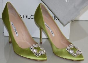 89033618d18  965 NEW MANOLO BLAHNIK HANGISI Apple GREEN Satin JEWELED Pumps ...