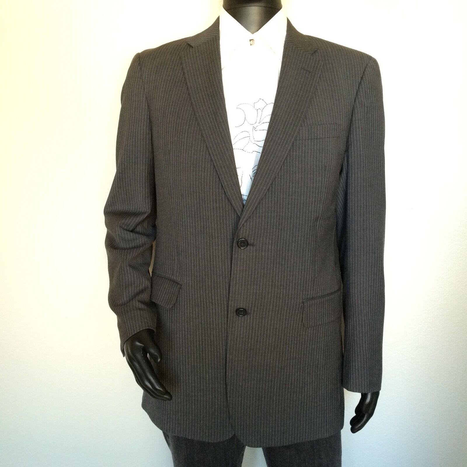 Tommy Hilfiger Men grau Blazer Größe 42 Long Pin Striped 100% Wool Sports Coat M