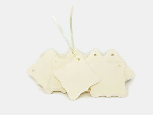 10 Ivory Glitter Tags Assorted Shapes Christmas Wedding Gift Label