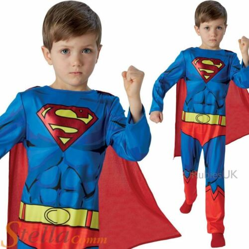 Boys Classic Comic Book Superman Superhero Fancy Dress Costume Child Outfit