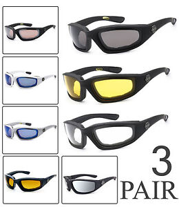 3482978fd7 Image is loading 3-PAIRS-Choppers-Padded-Foam-Wind-Resistant-Sunglasses-