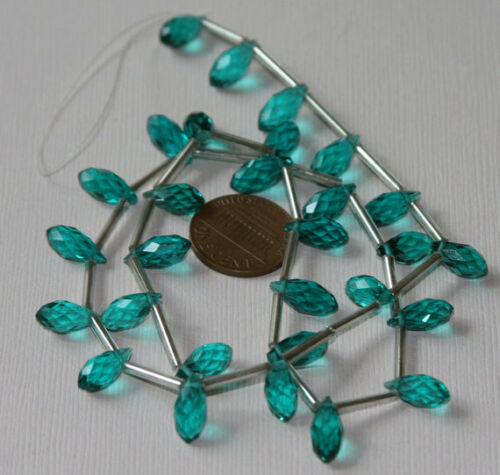 16 inch strand of Sea Green color glass Quartz faceted thin briolette 6mmx12mm