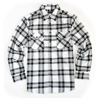 Yago Flannel Long Sleeve Shirt Stripped Black/White YG2508-D8
