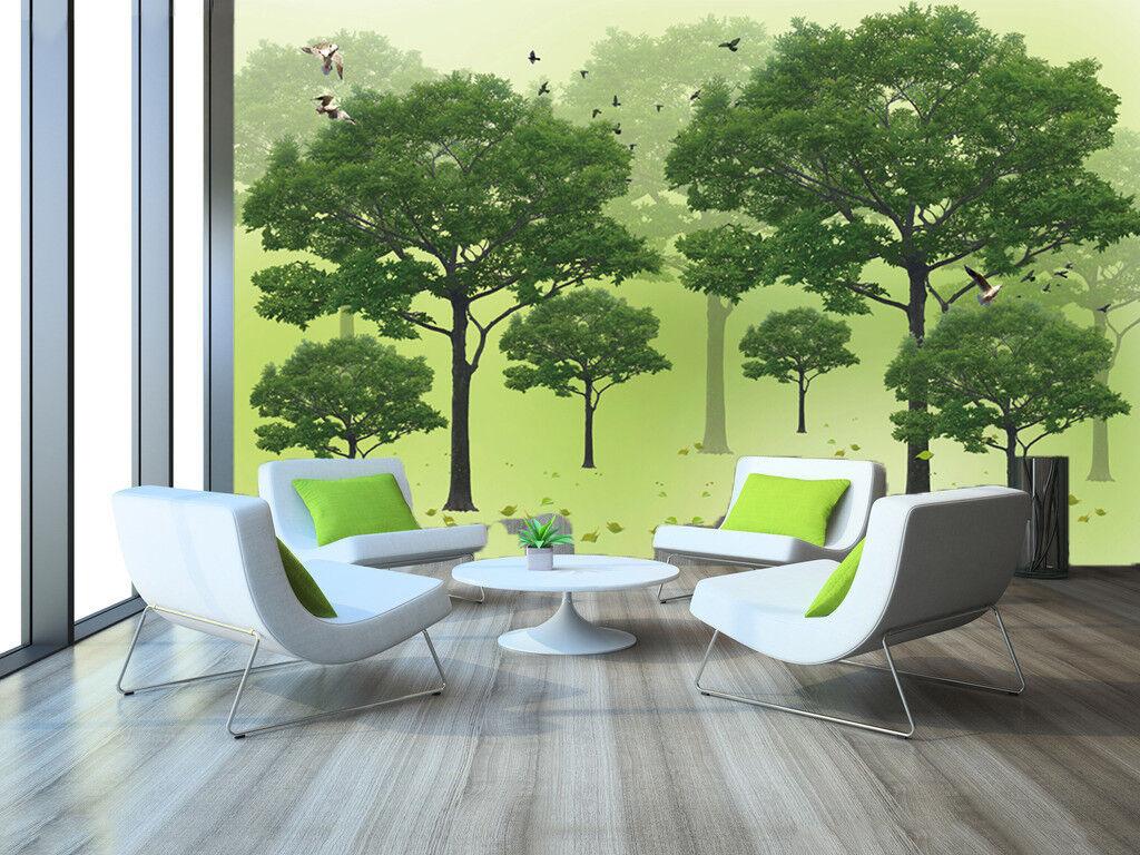 3D Green Tree Bird 5 Wallpaper Murals Wall Print Wallpaper Mural AJ WALL AU Kyra