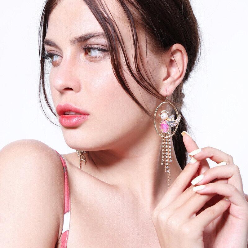 E1105 Betsey Johnson Gold Bird With Pink Gem On Circle Tassels Earrings Uk