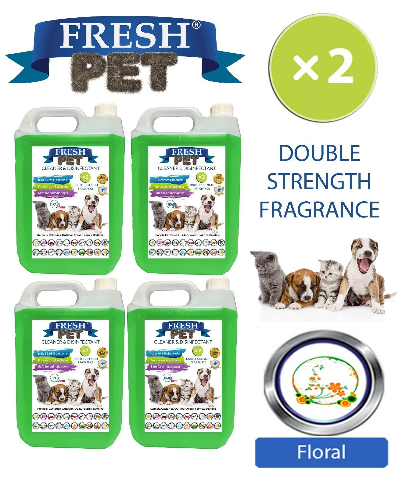 Fresh Pet Kennel Kennel Kennel Cane Disinfettante Doppia Forza Fragranza 4x5L Floreale 9d5ac4