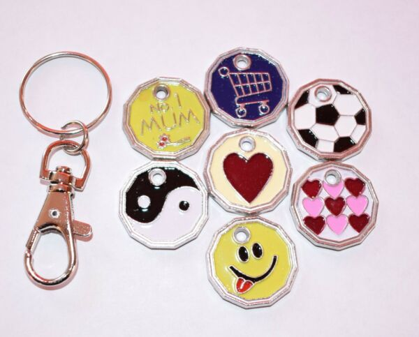 2 X Coin Token Keyring £1 Pound Shopping Trolley Locker Shopping Trolley Keyring Paghi Uno Prendi Due