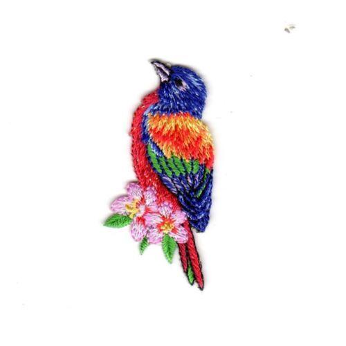Ecusson Thermocollant Oiseau Tropical Coloris Violet 2,50 x 5,50 cm REF 3404