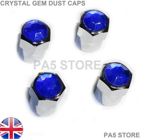 Blue Gem Crystal Chrome Dust Caps Car Van Valve Tyre Mini vw ford vauxhall bmw