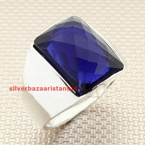 Turkish Jewelry 925 Sterling Silver Fresh Sapphire Stone Mens Ring us ALL SİZE