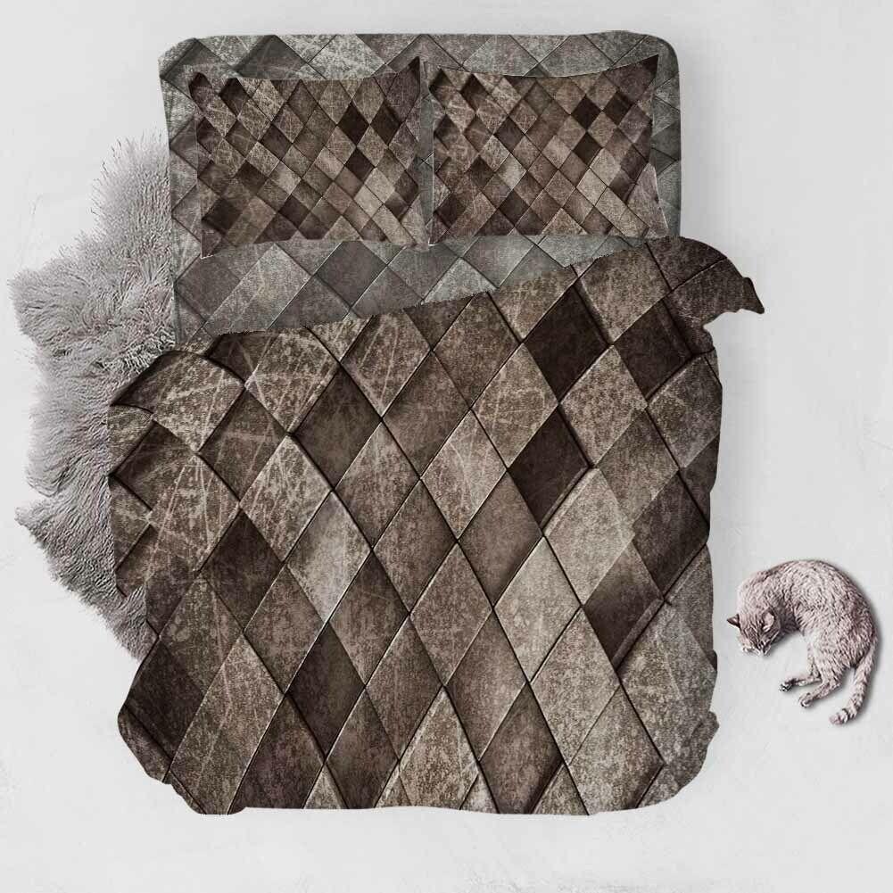 grau Light Rhombus 3D Druckening Duvet Quilt Will Startseites Pillow Case Bettding Sets