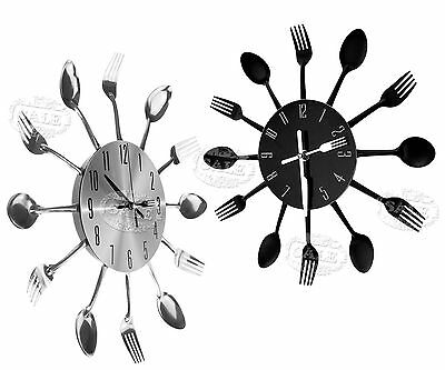 Funky Style Modern Home Cutlery Wall Clock Sliver/Black Retro Kitchen Decoration