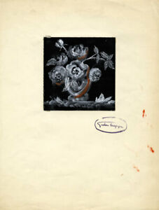 Gustave Bourgogne, Black and White Roses – Mid-20th-century gouache painting