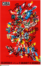 Political cuban POSTER.Rene Portocarrero paint.Red Cuba.Cold War History art.14