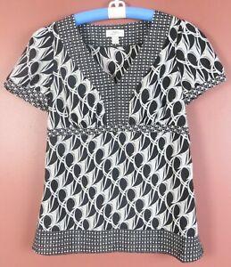 TB07402- ANN TAYLOR LOFT Women's Polyester Short Sleeve Blouse Black White Geo 4