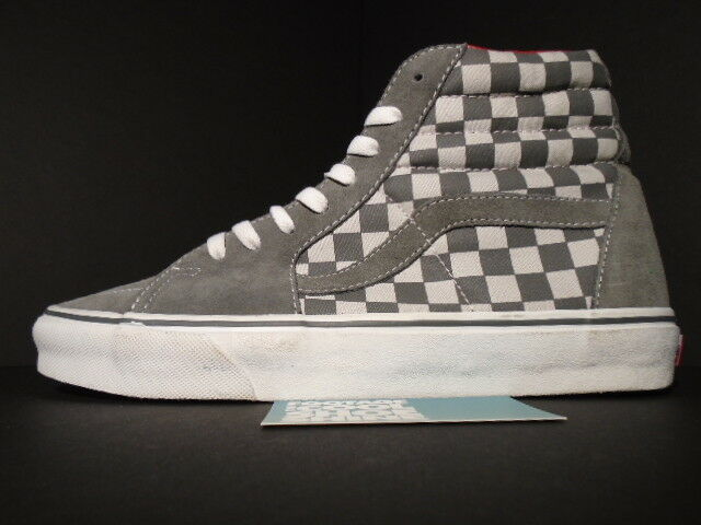 VANS SK8-HI LX VAULT SAMPLE CHECKERBOARD GREY BIANCA ROSSO LEATHER 9 LINING NEW 9 LEATHER 19dde1