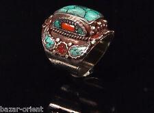 Traditioneller Tibetischer Türkis Ring tibetan turquoise ring neusilber  Nr.13
