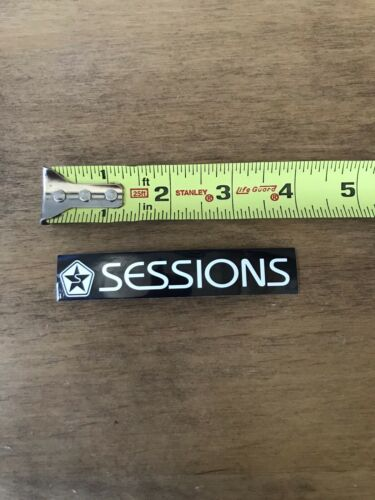 """Sessions Logo Snowboard Ski Skiing  Sticker//Decal Black //White Approx 4"""""""