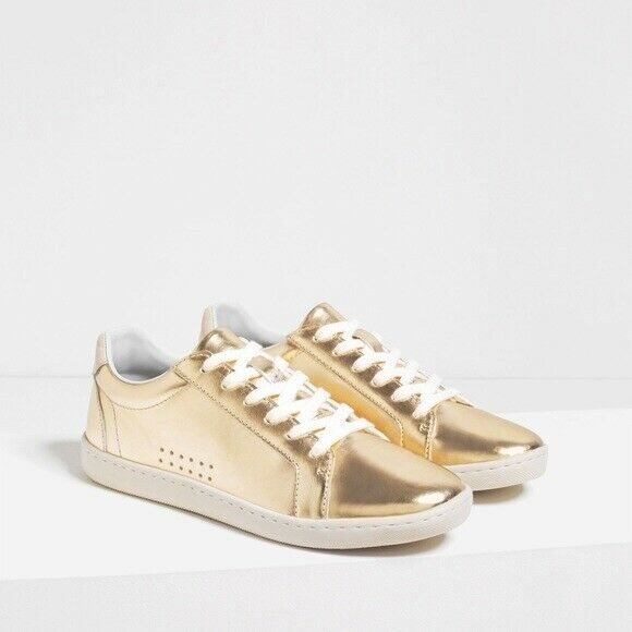 NWT Zara Women TRF Collection Laminated Plimsolls gold Sneakers SZ US 6.5 EUR 37