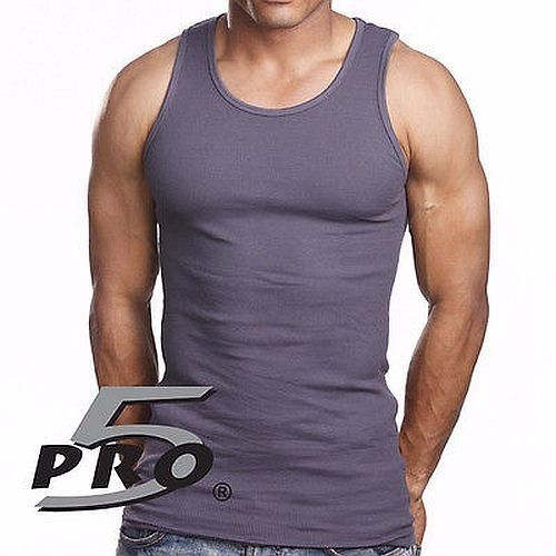 PRO 5 MENS WHITE A-SHIRTS COTTON UNDER SHIRT WIFE BEATER SM-3X