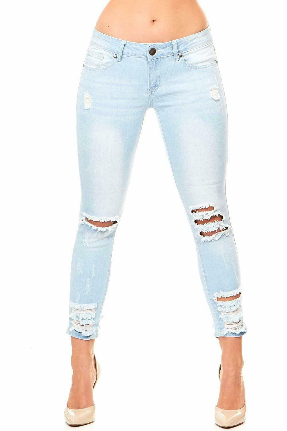 Cover Girl Women's Ripped Cropped Skinny Jeans, - Choose SZ color