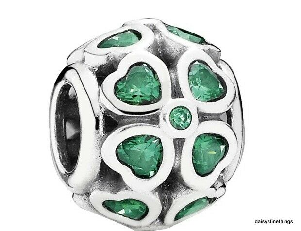 4556f1d7cc0ed8 Authentic PANDORA 925 Green Lucky Clover Heart Leaf Charm Pendant 791496CZN  for sale online