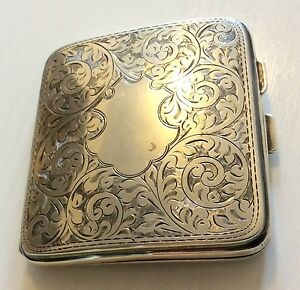 Beautiful-Antique-1924-Solid-Silver-Card-Case-Money-Case-Must-See-fully-markd