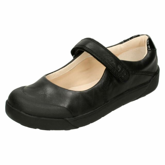 CLARKS GIRLS BOOTLEG T BAR BUCKLE FLAT SMART LEATHER SCHOOL SHOES SELSEY PLAY